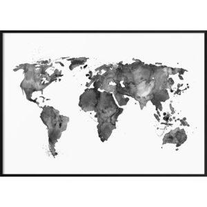 Plakat Mapa świata czarno-biała