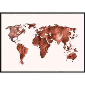 Plakat Mapa świata czerwona