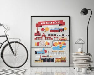 mock up poster frame in hipster interior background with bicycle