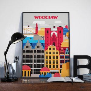 Plakat nieMapa Wrocław na biurku