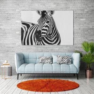 Plakat Zebra w salonie