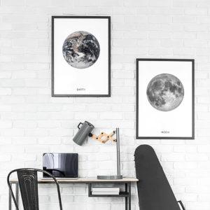 Plakat Ziemia i ksieżyc
