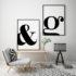 plakaty litery czarno-białe