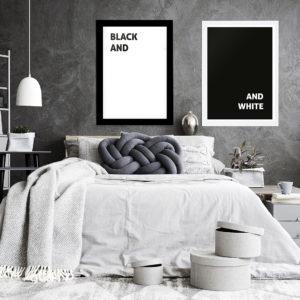 Plakat Biały black and (white) w sypialni