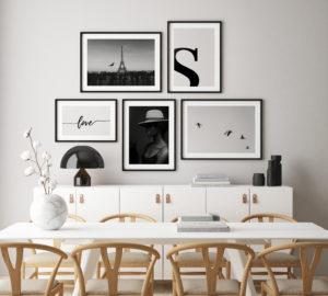Plakat Love; Klasyczny Paryż; Kobieta w kapeluszu; Litera S; Ptaki na niebie