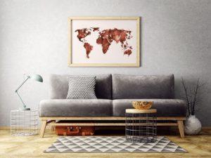 Plakat Mapa świata (czerwona)