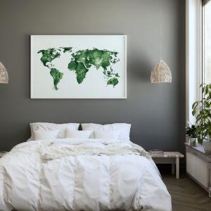 Plakt Mapa świata zielona w sypialni