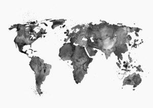 mapa swiata czarno-biala