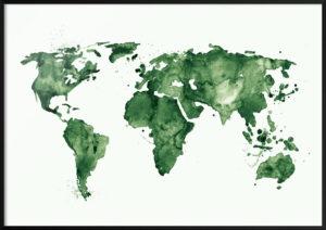 mapa-swiata-zielona-plakat