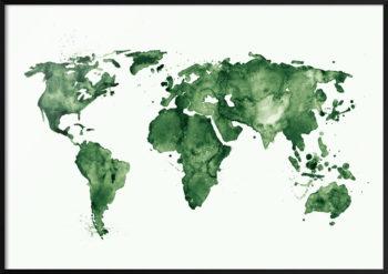 Plakat Mapa Świata (zielony)