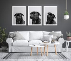 Mock up poster frame interior background, scandinavian style, 3D