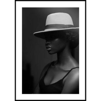 czarno-biały portret kobiety plakat na ścianę