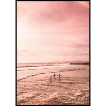 surferzy o zachodzie słońca