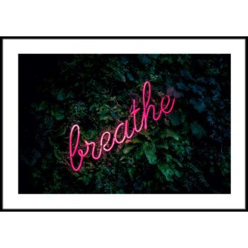 napis neon na liściach