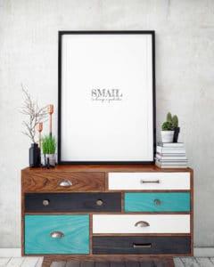 mock up poster with vintage hipster loft interior