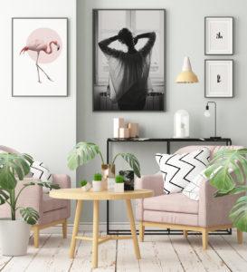 Plakat Różowy flaming; Poranek w oknie; Slow (white); Life (white)