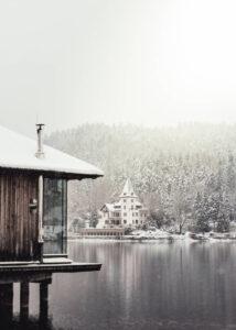 Plakat Górskie jezioro