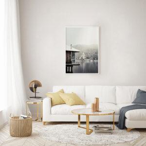 Plakat Górskie jezioro w salonie