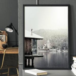 Plakat Górskie jezioro w ramie